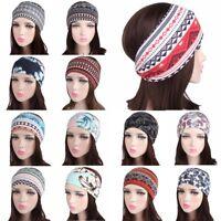 Womens Soft Cotton Stretch Head Wrap Wide Headband Yoga Sports Hair Band Turban