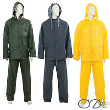 Adults Waterproof Rain Suit Jacket & Trousers Set Womens Mens Ladies Rain Coat
