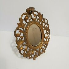 Vintage  Rococo Bronze Gilt Framed Mirror Louie XVI Oval Easel Cast Metal