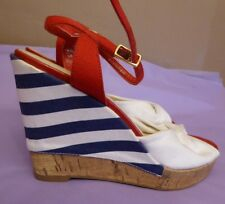 Marks & Spencer UK3.5 EU36 US5.5 new red/white/blue fabric wedge sandals