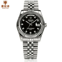 HOLUNS Men Watches Back Light Date Quartz  5ATM Water Resistant Stainless Steel