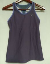 Nike DRI-FIT Womens Purple 2 Side/Rear Pocket Training Sports Bra Vest Top S