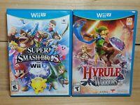 Nintendo Wii U Video Game Lot Hyrule Warriors & Super Smash Bros Tested