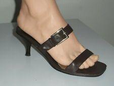 Nine West Yolandra Womens Brown Leather Slide Kitten Heel Sandal - Size 7.5M
