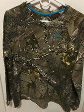 Realtree Xtra Camo Hunting Thermal Henley Long Sleeve T-shirt Womens Large New