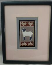 Quilted Art by Alice Woodrome Lamb Motif  Framed and Matted  Serigraph