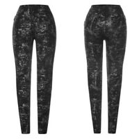 Punk Rave WK-326 Gothic Post-punk leggings with silver prints