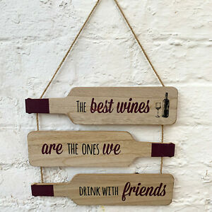 3 Tier Wine Bottle Quote Wood Wall Hanging Novelty Decorative Sign Plaque Gift A