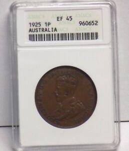 1925 AUSTRALIA PENNY EF 45 BN EF45 Australian ANACS Graded Certified Key Coin