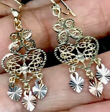 GOLD Chandelier 14k Earring Tri Yellow White Rose Filigree Heart Butterfly Gypsy