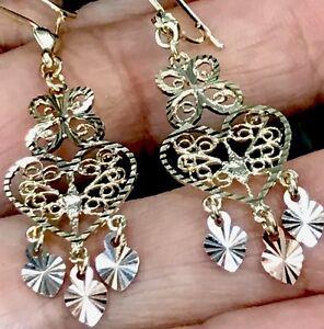 GOLD Chandelier 14k Earring Tri Yellow White Rose Filigree Heart Butterfly Gypsy