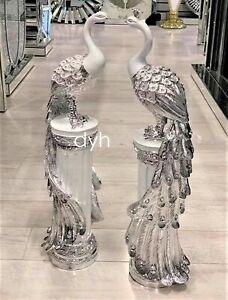 Italian White Silver Peacock Pair Stand Romany Diamante Gift Shelf Sitter Luxury