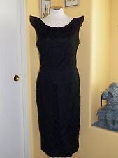 VTG CAROL BRENT SLEEVELESS BLACK LACE RUFFLE NECKLINE DRESS SIZE 14 PRE-OWNED
