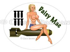 Sexy Bomber Girl DAISY MAE Country Girl busty bomber girl pin-up sticker decal R