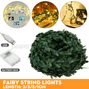 2/5/10M LED Leaves Ivy Leaf Garland Fairy String Lights Party Garden Decor Lamp