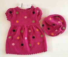 NWT Gymboree Carousel Ride 0-3 Months Pink Polka Dot Sweater Dress & Beret Hat