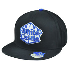 White Castle Snapback Flat Bill Black Restaurant Burgers Hat Cap Food Adjustable