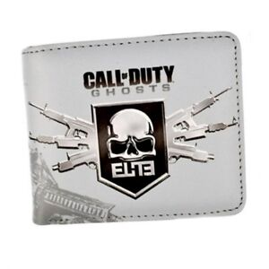 Call of Duty Ghosts Skull Logo Pu Short Bifold Wallet Grey Coins Cards Notes