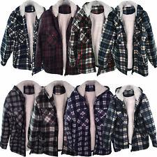 Mens Lumberjack Sherpa Fur Fleece Lined Hoodie Jacket Hooded Work Shirt