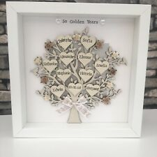 Personalised Family Tree Golden, Silver Wedding Anniversary Grandparents Gift 🎁