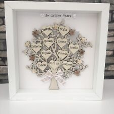 Personalised Family Tree Golden Silver Wedding Anniversary Grandparents Gift