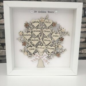 Personalised Family Tree Golden, Silver Wedding Anniversary Grandparents Gift