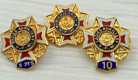 VFW Ladies Auxiliary Pin Veterans Of Foreign Wars 5 10 Year Lot Of 3 20-312