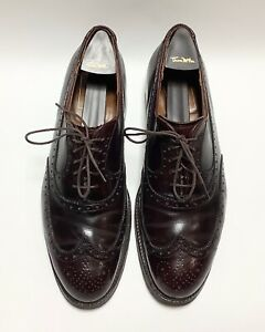 Alden Restoration Shell Cordovan Wingtip Oxford Brogues Shoes sz 8.5 D burgundy