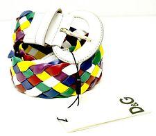 Cintura donna D&G Dolce&Gabbana pelle intrecciata multicolor con fibbia ovale