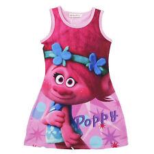 Kids Girls Dress Poppy Trolls Tulle Tutu Dress Summer Skirt Casual Party Costume
