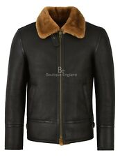 Mens B3 Ginger Fur Sheepskin Jacket Bomber RAF Shearling Leather Jacket HARBIN