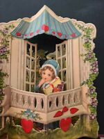 Vtg Valentine Greeting Card Diecut Fold open Girl Gift Gazebo bench Germany 1930