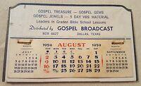 Vintage 1959 Advertising Desk Calendar Gospel Broadcast Dallas, Texas
