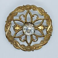 Antique Victorian Gold/Copper Tone Crystal Rhinestone Embossed Brooch