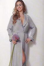 Vestaglia lunga con laccetto, aperta, Jersey Donna, Cornelia T. Versace - Flora.