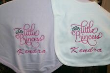 Little Princess Monogram Personalized Baby Toddler Blanket & Bib Combo Set Girl