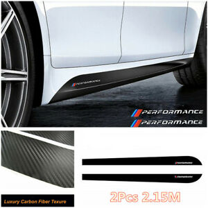 3D Carbon Fiber Texture Performance Car Side Skirt Sill Decal Stripe Stickers