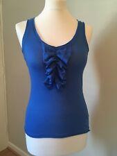 Paul & Joe Sister Bleu électrique Scoop Neck Ruffle Front Vest pour Femme Taille S