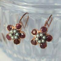 Boucles d'oreilles dormeuses Vermeil Fleurs Rubis et Perles NEUF  Earrings