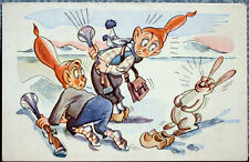 Vintage postcard (Dutch?): THE HARE HAS FRIGHTENED TWO HUNTERS
