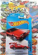 Hot Wheels 2014 #33 '81 Delorean DMC-12 RED,2ND COLOR,10SP,BLACK BASE,US CARD