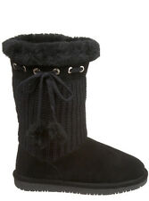 BEARPAW RAINA Sheepskin Knitted Wool Winter Boots Women's Black 7 NEW IN BOX