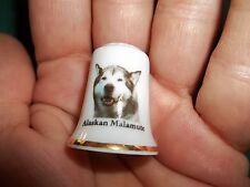 vintage Alaskan Malamute Dog Collectible ceramic Thimble figurine Lim.Edition