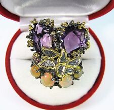 19 CTW AMETHYST FIRE OPAL SAPPHIRE BUTTERFLY RING #8.25  RHODIUM/GOLD/925 SILVER