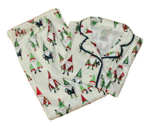 kids Munki Munki Nite-Nite flannel pajama set Size M (8) Christmas elves NWT