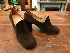 Vintage 1960's 70's QualiCraft Brown Suede Chunky Heel Pumps Shoes 5-5.5