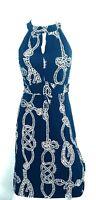 Lilly Pulitzer Women's Navy & White Rope Print Dress Halter Neck w/Tie Size XS