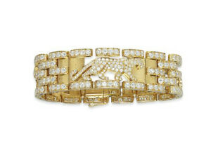 7.31CT NATURAL ROUND DIAMOND 14K SOLID YELLOW GOLD PANTHER BRACELET FOR MENS