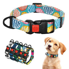 Nylon Printed Dog Collar for Small Large Dog with Safety Lockable Buckle Bulldog