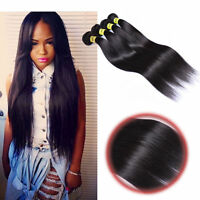 3 Bundles Unprocessed Virgin Brazilian Straight Hair Extensions Human Weave Hair